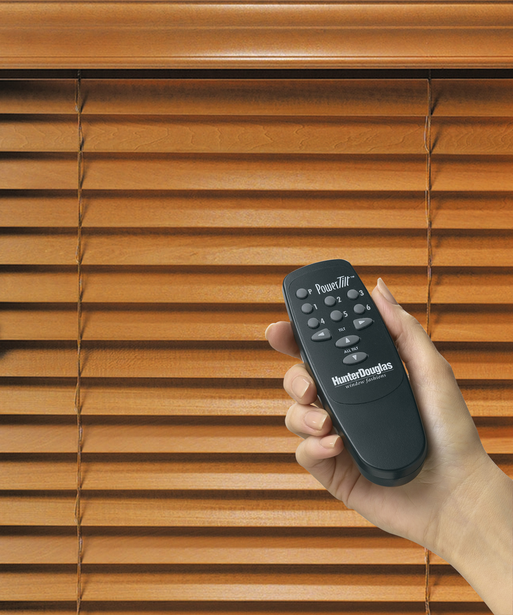 Hunter douglas motorized powerise silhouette luminette for Motorized blinds remote control